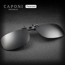 Caponi marca polarizada clipe no quadro óculos de condução diária lentes pretas 100% proteção uv fliped up óculos de sol clip men cp1282