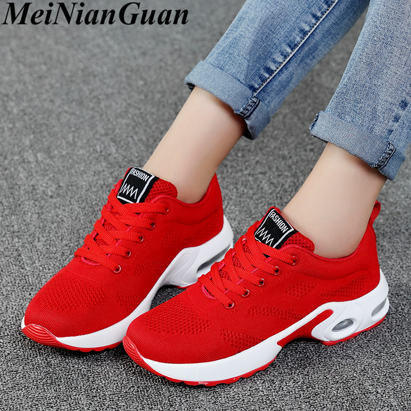 Air Cushion Womens Shoes Sport Women Running Shoes Mesh Women's Red Sneakers Breathable Women's Summer Sports Shoes Plus Size B9
