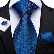 New Designer Fashion Men Tie Blue Gold Dot Wedding For Hanky Cufflink Silk Set DiBanGu Dropshipping  MJ-7261