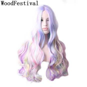 WoodFestival  Female Multicolor Women Wigs synthetic hair Heat Resistant  Pink Blonde Black Purple Cosplay Ombre Wig Long Wavy cosplay synthetic long fluffy purple gradient side bang wavy wig