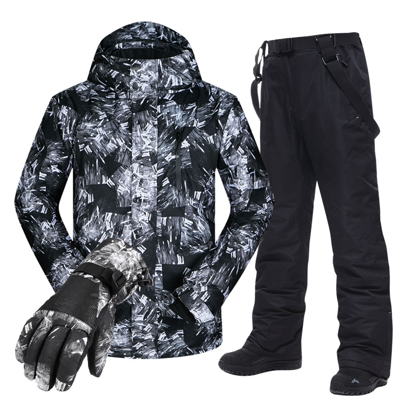 Large Size Men's Ski Suit -30 Temperature Waterproof Windproof Warm Winter Mountaineering Skiing Cycling Jackets And Pants Set