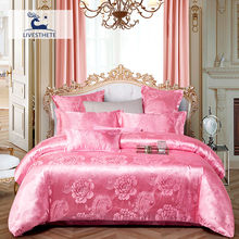 Liv-Esthete Luxury Pink Flower Euro Bedding Set Silky Duvet Cover Healthy Skin Pillowcase Double Flat Sheet Bed Linen