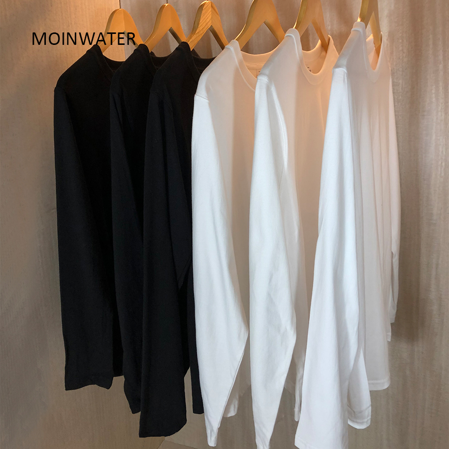 MOINWATER New Women Casual Long Sleeve T shirt Lady 100% Cotton T-shirts Female Soft Black White Base Tees Tops MLT2017(China)