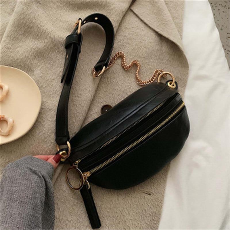 Vintage Solid Color Waist Pack For Women Desigener Brand Fashion PU Leather Fanny Pack Messenger Bag Casual Women Waist Belt Bag