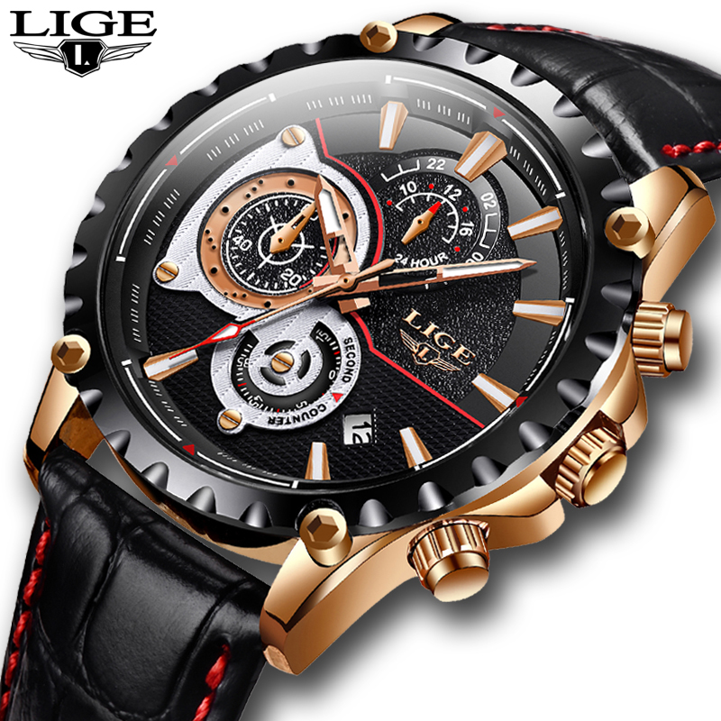 2020 LIGE Watch Men Fashion Quartz Army Military Mens Watches Top Brand Luxury Leather Waterproof Sports Watch Relogio Masculino