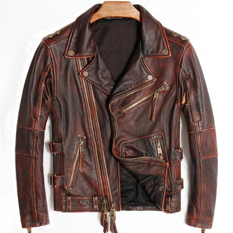 Punk Mens Real Leather Jackets Vintage Motorcycle Real Genuine Cowhide Biker Coat Retro Winter Brand Overcoat Red Big Size 4XL