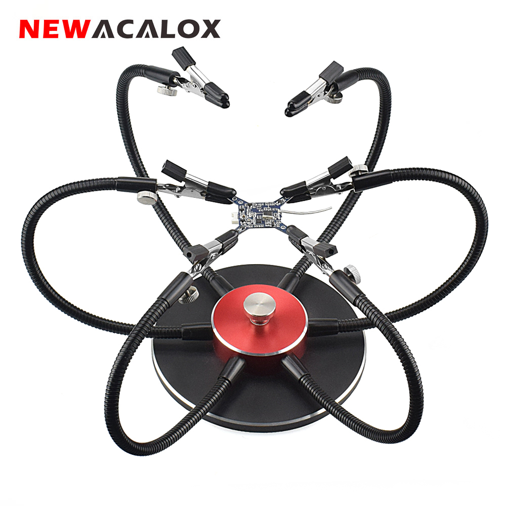 NEWACALOX Soldering Helping Hand Flexible Arm Third Pana Hand Soldering Station PCB Soldering Holder Welding Repair Tool