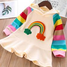 Casual Baby Girls Dresses Cute Girls white T-Shirt Hooded Dress Rainbow Dress Suit Cute Kids Clothes Autumn Children Clothing red big girls t shirts dresses kids summer 2018 dress clothing baby cotton cute dress children solid o neck sundress clothing