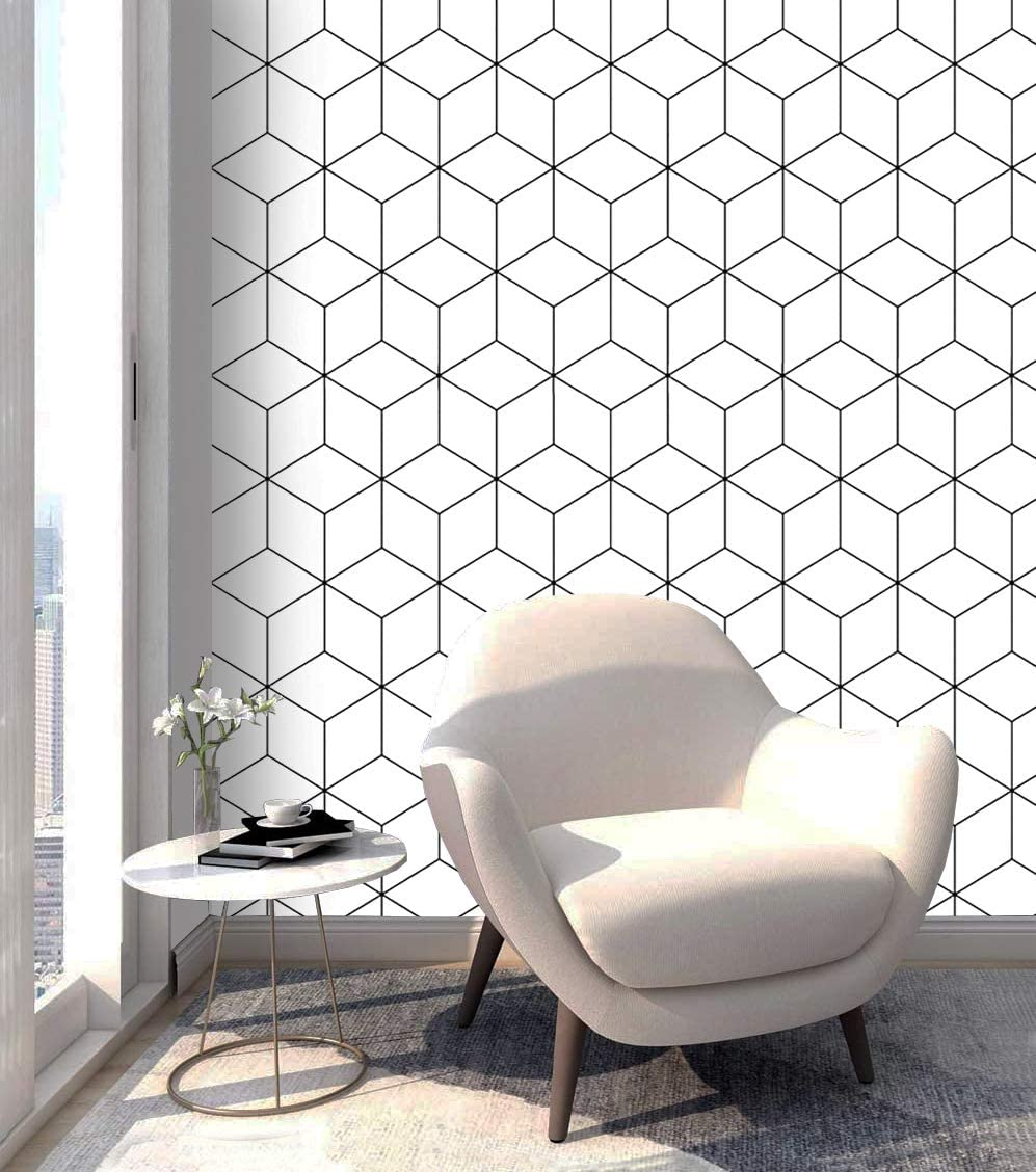 LUCKYYJ Peel and Stick Wallpaper White and Black Contact Paper Stripe Vinyl Self-Adhesive Removable Wallpaper for Wall Covering