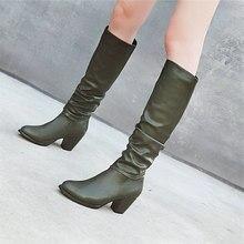 De invierno hasta la rodilla botas de Mujer Zapatos de gran tamaño 34- 48 de la PU de cuero de marca botas Casual medio tacones verdes Zapatos Señora zapatos de gran tamaño