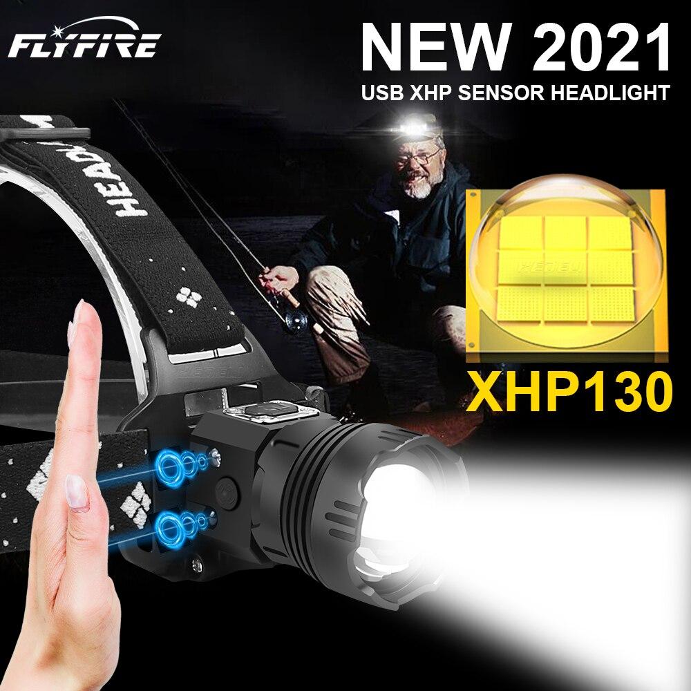 1000000LM XHP130 высокий мощный фары Flash светильник Головной фонарь светодиодный USB головной светильник 18650 Перезаряжаемые Рыбалка Фонари головной...