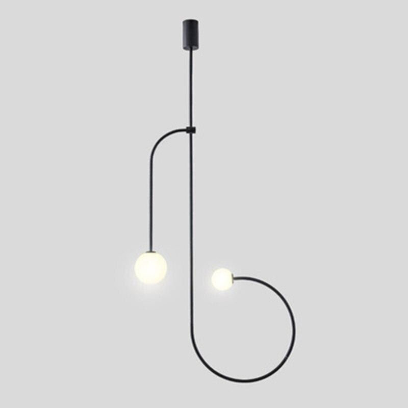 Işıklar ve Aydınlatma'ten Kolye ışıkları'de Italyan Tasarımcı Minimalist Demir Hattı Kolye Işıkları Restoran Yemek Odası Oturma Odası Hanglamp Ev Dekor Yatak Odası Başucu Lambası title=