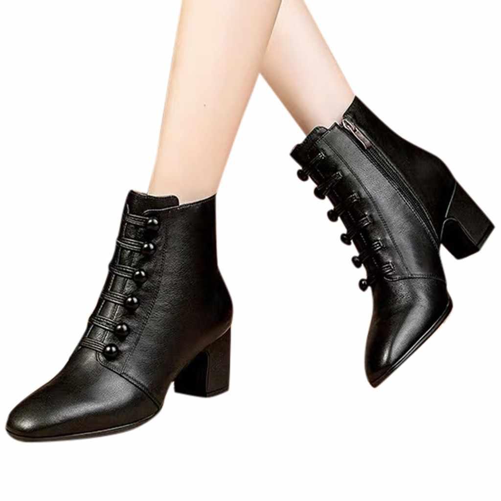 Stiefel Frauen Schuhe Neue Mode Booties Gothic Schuhe Solide Schwarz Hohe Ferse Winter Leder Stiefel Frauen Punk Botas bota feminina