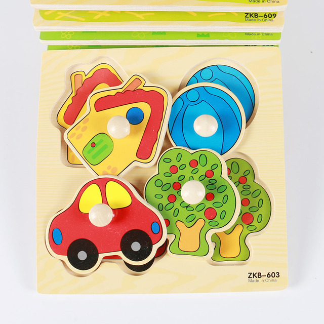 Kids Hand Grab Board 3D Puzzle Wooden Toys for Children Cartoon Animal Wood Jigsaw Toddler Baby Early Educational Learning Toy 2