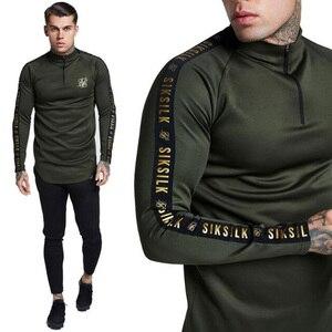 ¡Novedad de otoño! Camiseta Casual de manga larga Sik de seda a la moda para hombre, Camiseta ajustada de deporte al aire libre con media cremallera de marca Tide para hombre