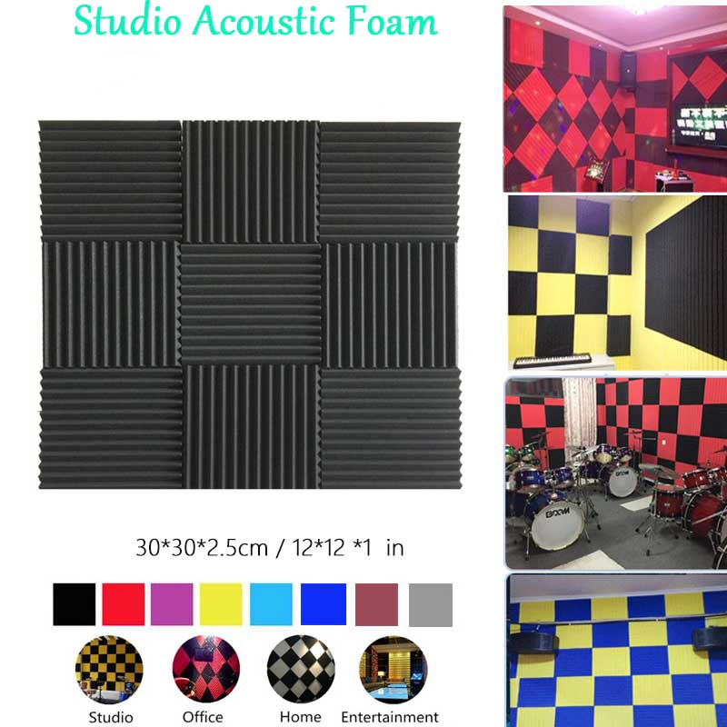 BEIYIN[12/Pack] Wedge Studio Acoustic Foam Sound Treatment Tiles Sound Absorption Soundproof Panels Sound Insulation 12x12x1inch