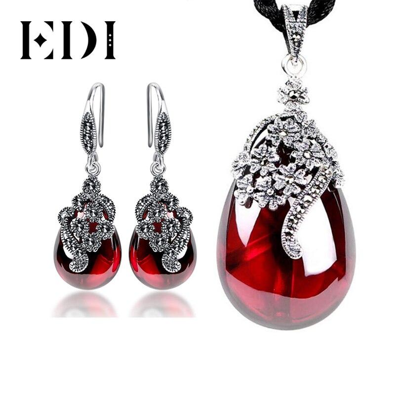 EDI ヴィンテージガーネット 925 スターリングシルバードロップイヤリング宝石用原石のペンダントネックレス女性のジュエリーセット用  グループ上の ジュエリー & アクセサリー からの ジュエリーセット の中 1