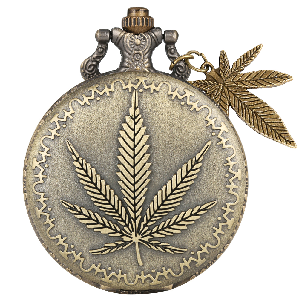 Bronze Maple Leaf Pattern Cover Pocket Watches With Maple Leaf Plant Pendant For Necklace Chain Pendant Watch Men Women Gifts