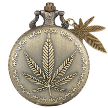 Bronze Maple Leaf Pattern Cover Pocket Watches With Plant Pendant For Necklace Chain Watch Men Women Gifts
