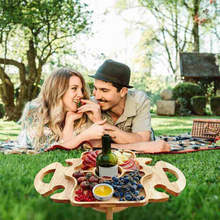 Wooden Outdoor Removable Picnic-table With Wine Glass Holder Wine Glass Rack Outdoor Wine Table Wooden Table Easy To Carry