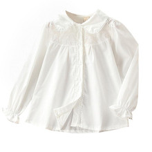 Kids Fall Clothes Girls White School Shirts Preppy Style Long Sleeve Pe