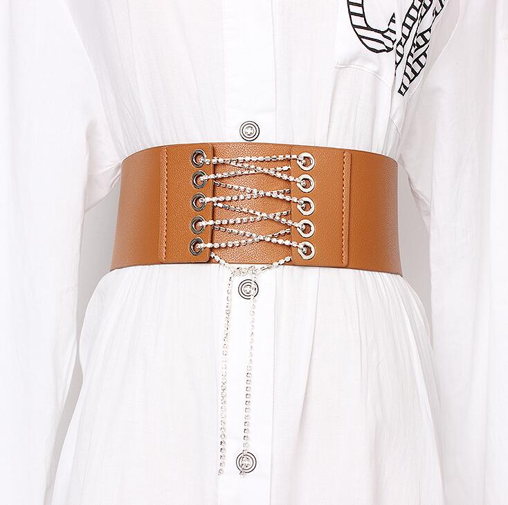 Women's Runway Fashion Diamonds Pu Leather Bandage Cummerbunds Female Dress Corsets Waistband Belts Decoration Wide Belt R1916