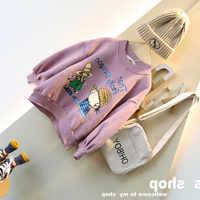 WLG girls cartoon winter hoodies kids velvet thick purple loose hoodie baby girl warm casual clothes 2-7 years