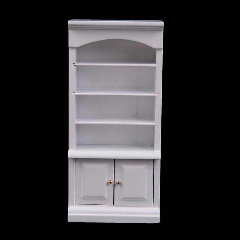 1Pc Wooden Furniture Modern White Doll House Wooden Living Room Book Cabinet Bookshelf Cabinet Wardrobe 1:12 Dollhouse