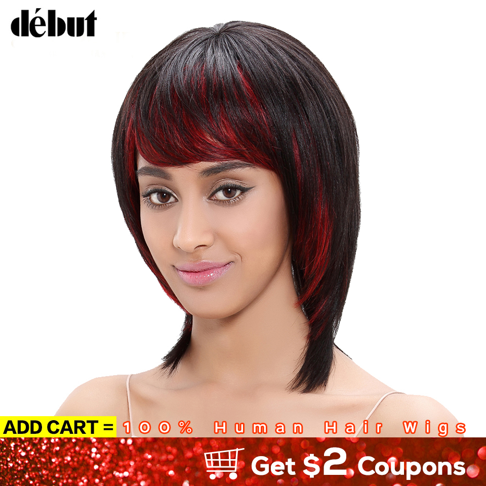 Debut HL1B/RED Color Bob Human Hair Wigs For Black Women Pixie Cut Straight Hair Wigs With Bangs Remy Brazilian Wigs Women Gifts