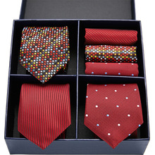 Novel design tie set silk Red 3type Plaid Dot Solid men 7.5 cm gift box & handkerchief GL-08