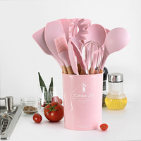 Silicone Wooden Kitchenware Utensil Set Non Stick Heat Resistant Baking Spatula Spoon Turner Tongs Kitchen Cooking Accessories