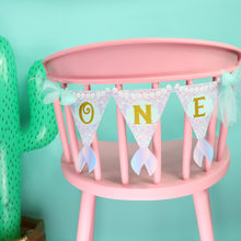Highchair แบนเนอร์สำหรับ 1st วันเกิด Mermaid Theme One First Birthday Party Supplies Pennant Garland(China)