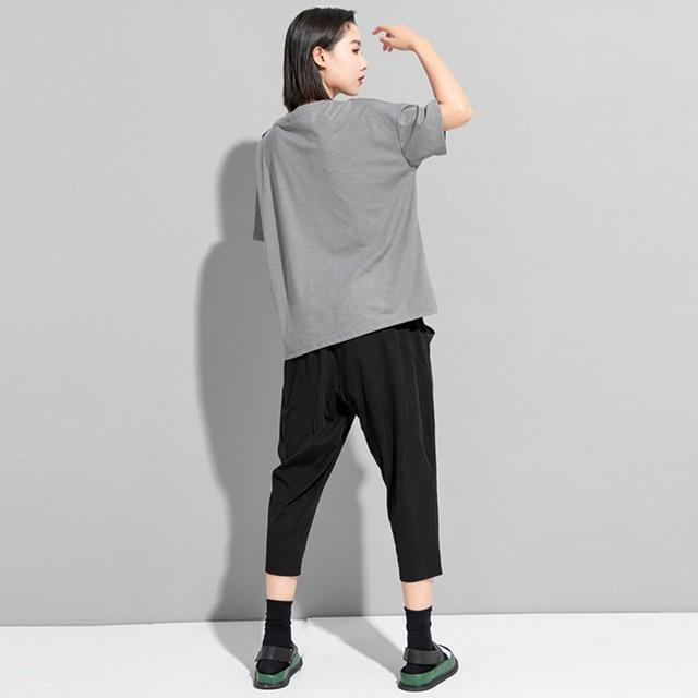 [EAM] Women White Irregular Drawstring Big Size T-shirt New Round Neck Short Sleeve Fashion Tide Spring Summer 2021 1DD9278 4