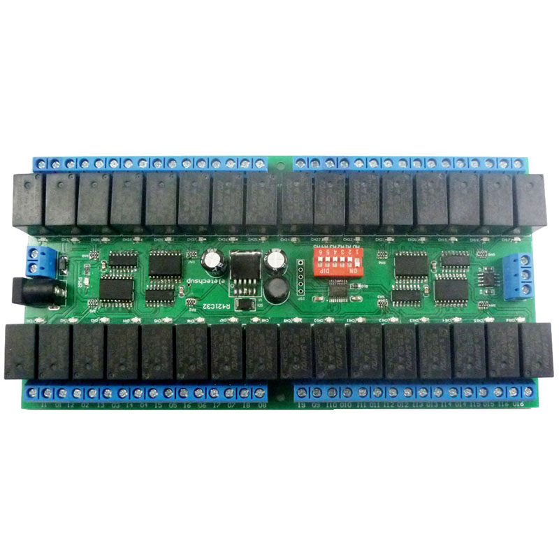 R421C32 DC12V 32 Channels Modbus RTU RS485 Bus Relay Module UART Serial Port Board for PLC LED Home Automation Door Lock