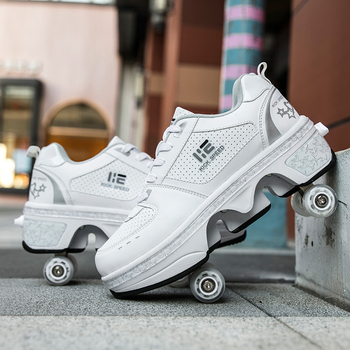 Deformation Parkour Shoes Four wheels Rounds of Running Shoes Roller Skates shoes adults kids unisex 6