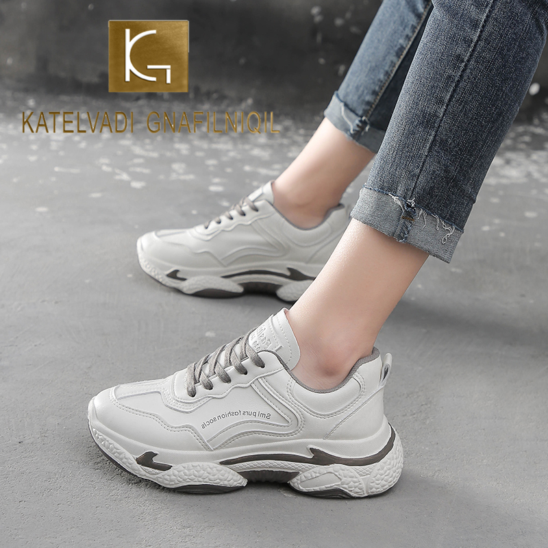 KATELVADI Chunky Sneaker Women Summer Vulcanize Female Fashion Clunky Sneakers Lace-Up Basket Femme Breathable Sneakers SL004