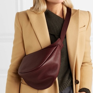 2020 Spring Woman Messenger bag New Wine Red Black Color Wide Single Strap Zipper Half Moon PU Leather Chest Bag All Match