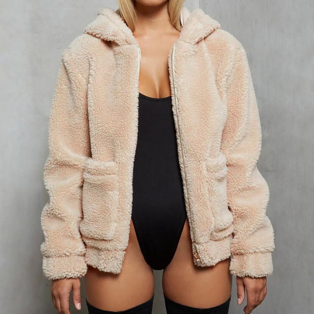 StylishBar Women Teddy Bear Pocket Coat Lapel Fleece Fuzzy Faux Shearling Zipper Hooded Warm Outerwear Jacket Lady Plush Outwear