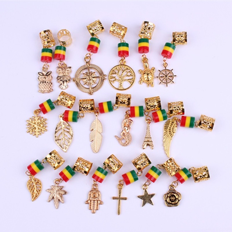 5 Pcs/pack Gold Different 14 Styles Hair Braid Dread Dreadlock Beads Rings Easy To Use Cuffs Braid Rings Hair Jewelry Pendants