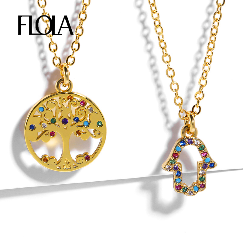 FLOLA Gold Hamsa Necklace Rainbow Pave Tree of Life Sterling Silver Jewelry Woman mano de fatima colgant nkep38
