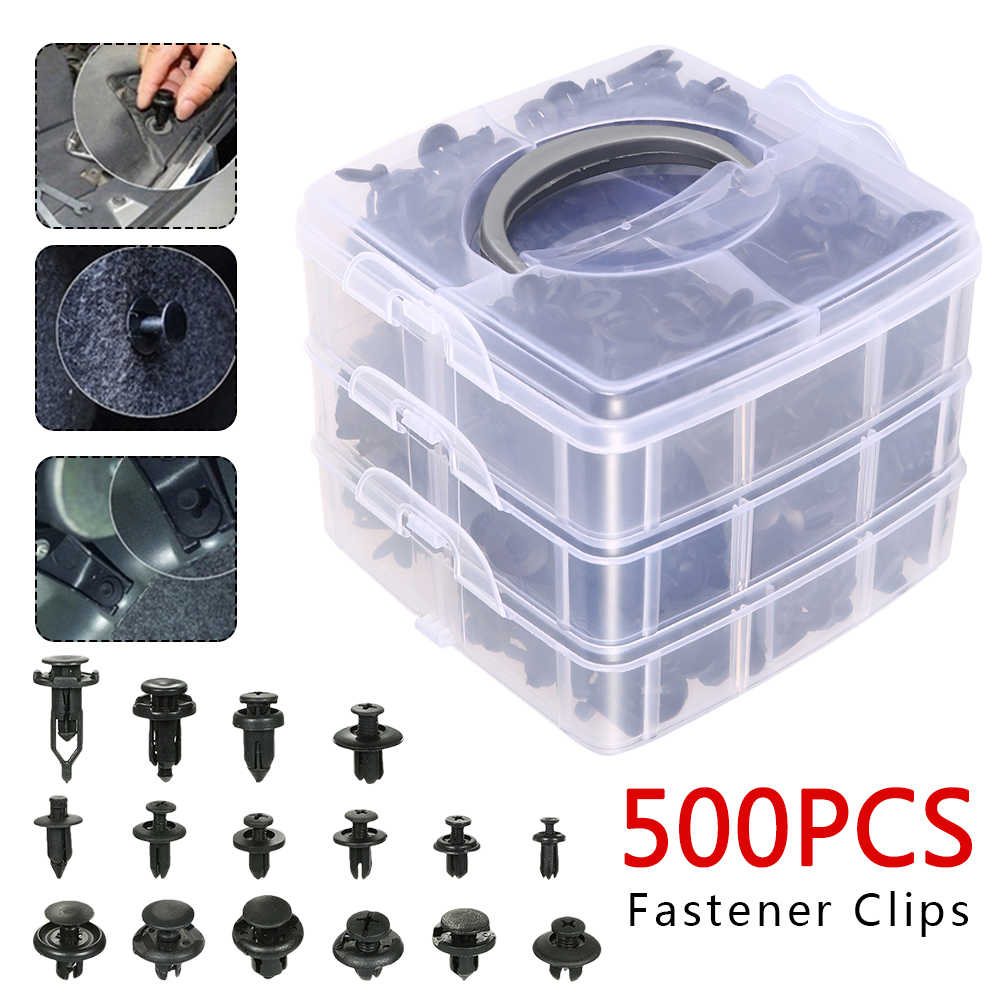 500PCS Car Plastic Clips Car Fasteners Door Trim Panel Auto Bumper Rivet Retainer Push Engine Cover Auto Fastener Clips