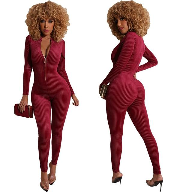 Ribbed Zipper Skinny V Neck Rompers Womens Jumpsuit Fashion Bodycon Sexy Hot Long Sleeve Solid 2020 Spring Jumpsuits 6