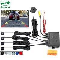 GreenYi-sistema de control de marcha atrás para aparcamiento de coche, 4 sensores de vídeo, timbre trasero, Radar, compatible con pantalla, imagen y alerta de sonido
