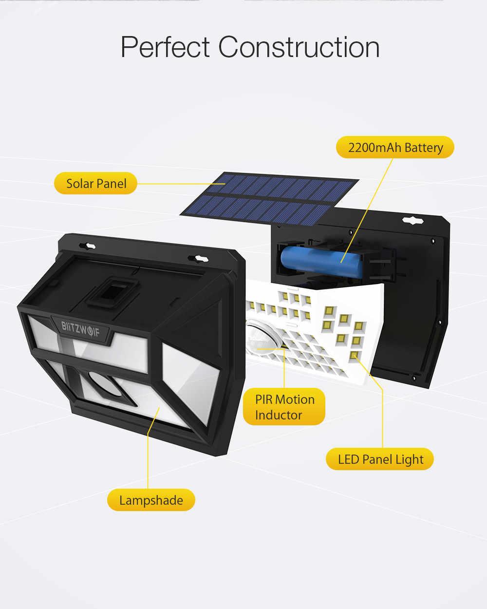 Blitzwolf BW-OLT1 الطاقة الشمسية 62 LED الذكية PIR محس حركة التحكم IP64 الجدار ضوء مصباح للخارجية حديقة مسار ساحة الأمن