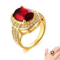 Retro czerwona szklany kamień kobiety party pierścień złoty stal nierdzewna unisex koktajl pierścień dodatki biżuteria