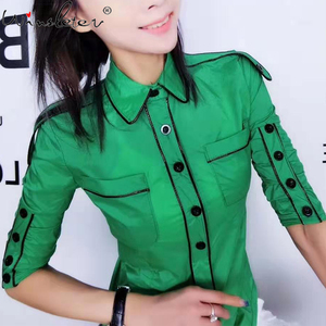 New 2020 Spring Women Blouse Thin Shirt Bordered Buttons Decoration Turn-down Collar Dual Pockets Half Sleeve Slim Tops T02718B(China)