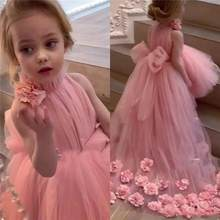 Flower Girl Dresses for weddings Pink High Neck Tulle Bow Back 3D Hand made Flowers Dercation Charming Party Birthday Dress(China)