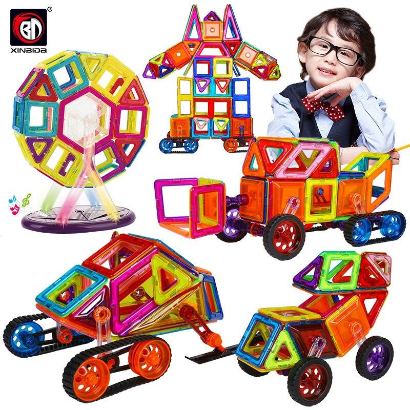 46-168 pçs tamanho grande blocos magnéticos diy construção tijolos designer de construção ímã designer brinquedos educativos para crianças
