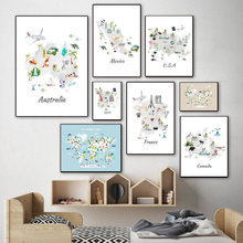Cartoon Animals Habitat World Map Wall Art Canvas Painting Nordic Posters And Prints Continent Wall Pictures For Kids Room Decor