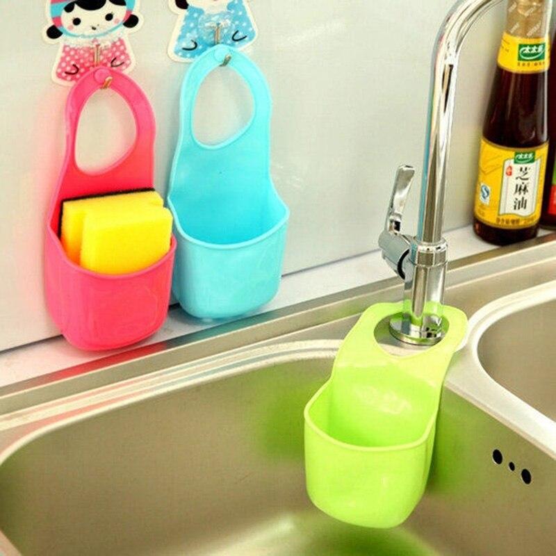 1 Pc Kitchen Bath Rack Snap Fastener Sink Hanging Storage Bag Basket Organizer Bathroom Box Drain Faucet Sponge Holder Gadgets(China)